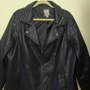 "Black polyester and cotton ""leather"" jacket"